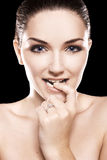 Beautiful woman wearing diamond ring Royalty Free Stock Photo