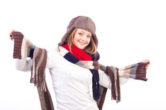 Beautiful woman wearing different scarfs and hat. Studio shot of beautiful smiling woman isolated on white background wearing different scarfs and hat Stock Photo