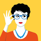 Beautiful woman wearing eyeglasses Royalty Free Stock Images