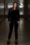 Beautiful Woman Wearing Fashion Tracksuit In Black Royalty Free Stock Photos