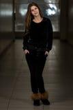 Beautiful Woman Wearing Fashion Tracksuit In Black Royalty Free Stock Image