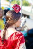 Beautiful woman wearing flamenco dress at the Seville`s April Fair Royalty Free Stock Photography