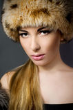 Beautiful woman wearing fur Royalty Free Stock Photography