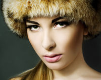 Beautiful woman wearing fur Royalty Free Stock Photos