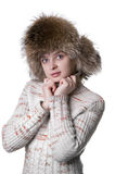 Beautiful woman wearing fur hat Stock Image