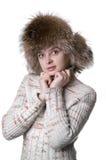 Beautiful woman wearing fur hat Stock Image