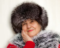 Beautiful woman wearing in fur hat Stock Photo