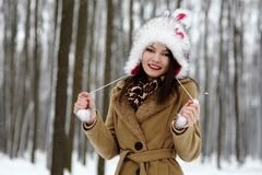 Beautiful woman wearing fur hat in the forest in the winter Stock Photography