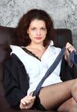 Beautiful woman wearing gentlemen shirt and neck-tie Stock Images