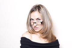 Beautiful woman wearing glasses Royalty Free Stock Photography