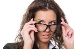 Beautiful Woman Wearing Glasses Stock Photo