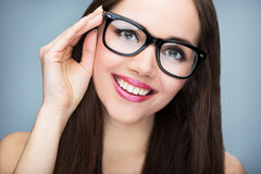Beautiful woman wearing glasses Stock Images