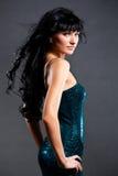 Beautiful woman wearing green dress royalty free stock photography