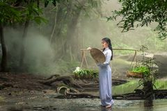 Beautiful woman wearing a hat Dress Ao Dai traditional Vietnames. E dress standing in the forest Royalty Free Stock Photo