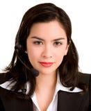Beautiful Woman Wearing Headset Stock Photo