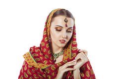 Beautiful woman wearing indian traditional outfit sari Royalty Free Stock Photo