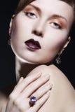 Beautiful Woman Wearing Jewelry Stock Photo