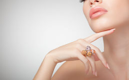 Beautiful woman wearing jewelry, clean image Royalty Free Stock Image