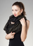 Beautiful woman wearing kashmir scarf Stock Photography