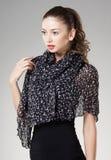 Beautiful woman wearing kashmir scarf Stock Image