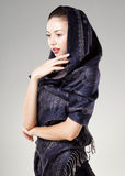 Beautiful woman wearing kashmir scarf Royalty Free Stock Photo