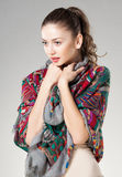 Beautiful woman wearing kashmir scarf Stock Photos