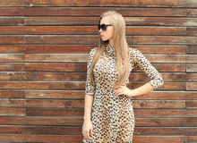Beautiful woman wearing a leopard dress and sunglasses Royalty Free Stock Photos