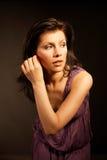 Beautiful woman wearing lilac dress Royalty Free Stock Photos