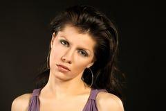 Beautiful woman wearing lilac dress Royalty Free Stock Images