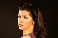Beautiful woman wearing lilac dress Royalty Free Stock Photo