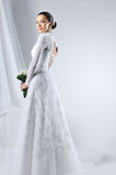 Beautiful woman wearing luxurious wedding dress Royalty Free Stock Photography