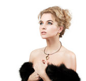 Beautiful Woman Wearing Luxury Fur Coat Royalty Free Stock Images
