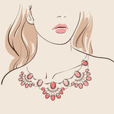 Beautiful woman wearing a necklace. Vector illustration eps 10 stock illustration