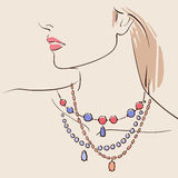 Beautiful woman wearing a necklace. Vector illustration eps 10 vector illustration