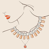 Beautiful woman wearing a necklace. Vector illustration eps 10 royalty free illustration