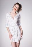Beautiful woman wearing pajamas   Royalty Free Stock Images