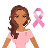 Beautiful woman wearing pink ribbons to promote awareness of breast cancer. Stock vector Stock Photography