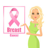 Beautiful woman wearing pink ribbons to raise awareness of breast cancer. Blonde hair. Stock Photography
