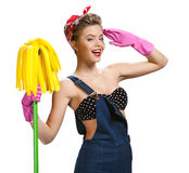 Beautiful woman wearing pink rubber protective gloves holding cleaning mop Royalty Free Stock Photos