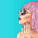 beautiful woman wearing pink wig and sunglasses Stock Image