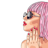 beautiful woman wearing pink wig and sunglasses Royalty Free Stock Images