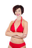 Beautiful woman wearing red bikini Stock Photography