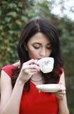Beautiful woman wearing a red dress Stock Photo