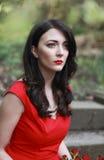 Beautiful woman wearing a red dress Stock Photography