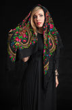 Beautiful woman wearing Russian headscarf Royalty Free Stock Photo