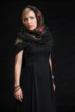Beautiful woman wearing Russian headscarf Stock Photography