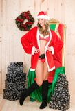 Beautiful woman wearing santa claus clothes Stock Photo