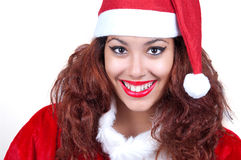 Beautiful woman wearing santa clause costume Stock Images