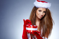 Beautiful woman wearing a santa costume Royalty Free Stock Images