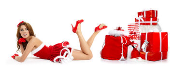 Beautiful woman wearing a santa costume Royalty Free Stock Photo